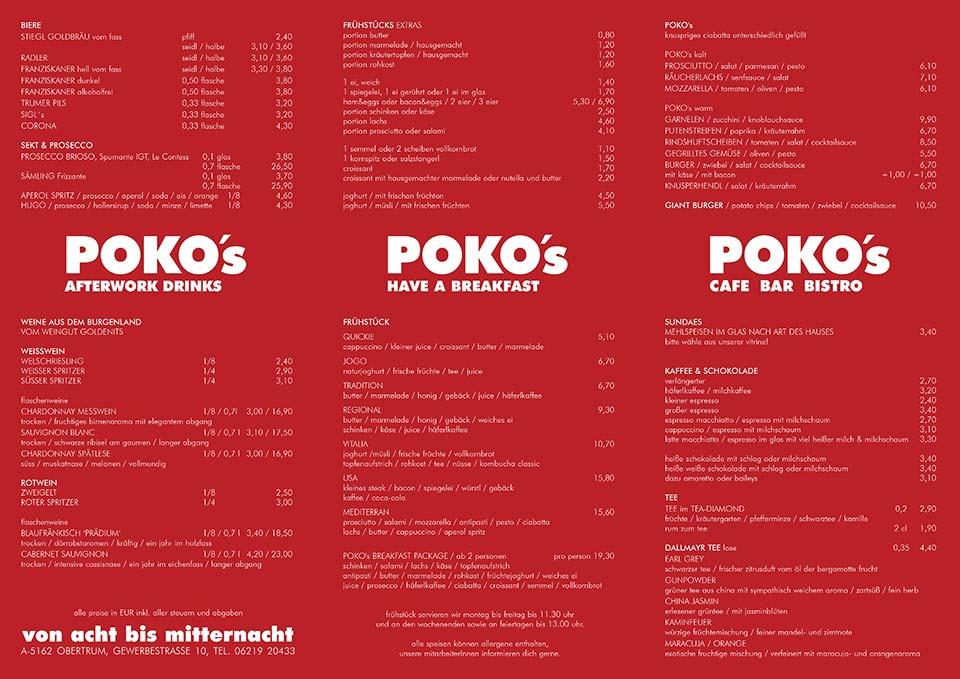 GETRÄNKEKARTE - POKO´s Cafe | Bar | Bistro